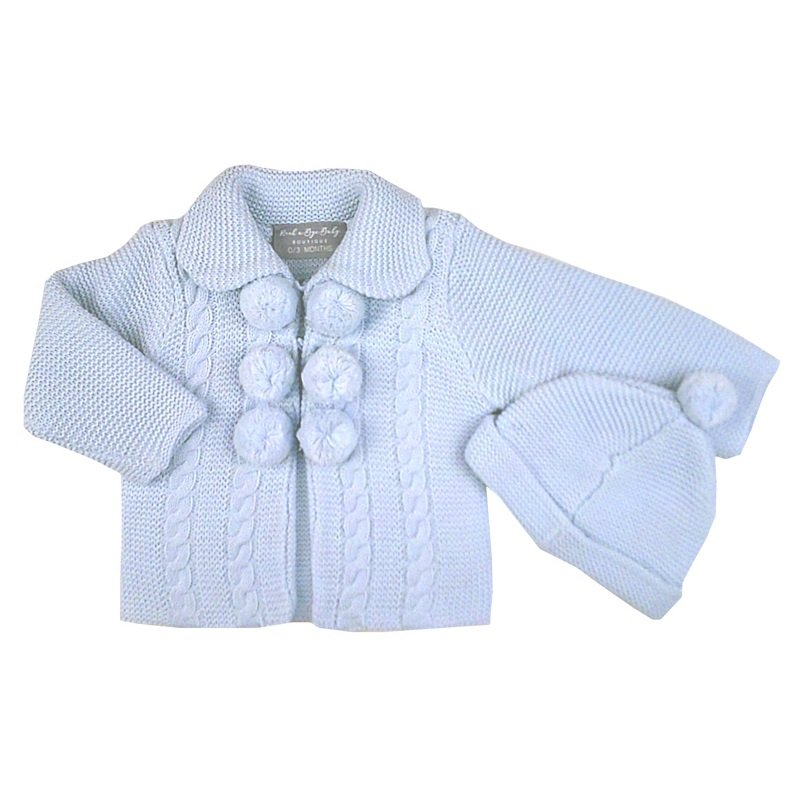 Spanish Style Baby Blue Double Knit Cardigan Jacket With Pom Pom