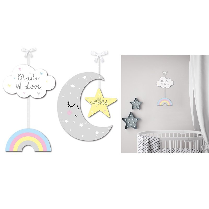 Gift Set 2 x Wooden Baby Nursery Decor Sleeping Moon Star & Rain