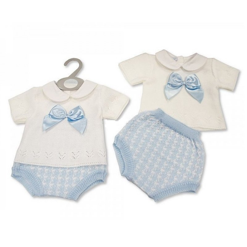 Spanish Style Baby Boy Knitted 2 Pc Set Bow Collar Short Sleeve