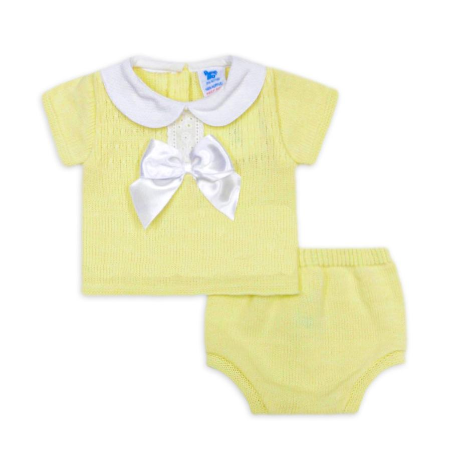 Spanish Style Baby Unisex Lemon Knitted 2 Pc Set