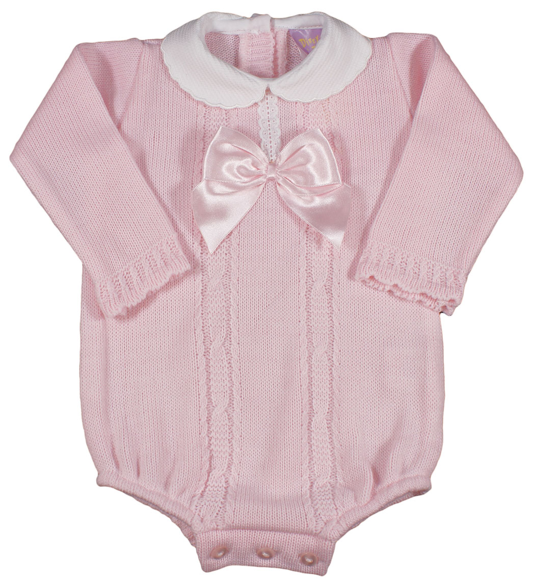 Spanish Style Long Sleeve Baby Pink Knitted Romper