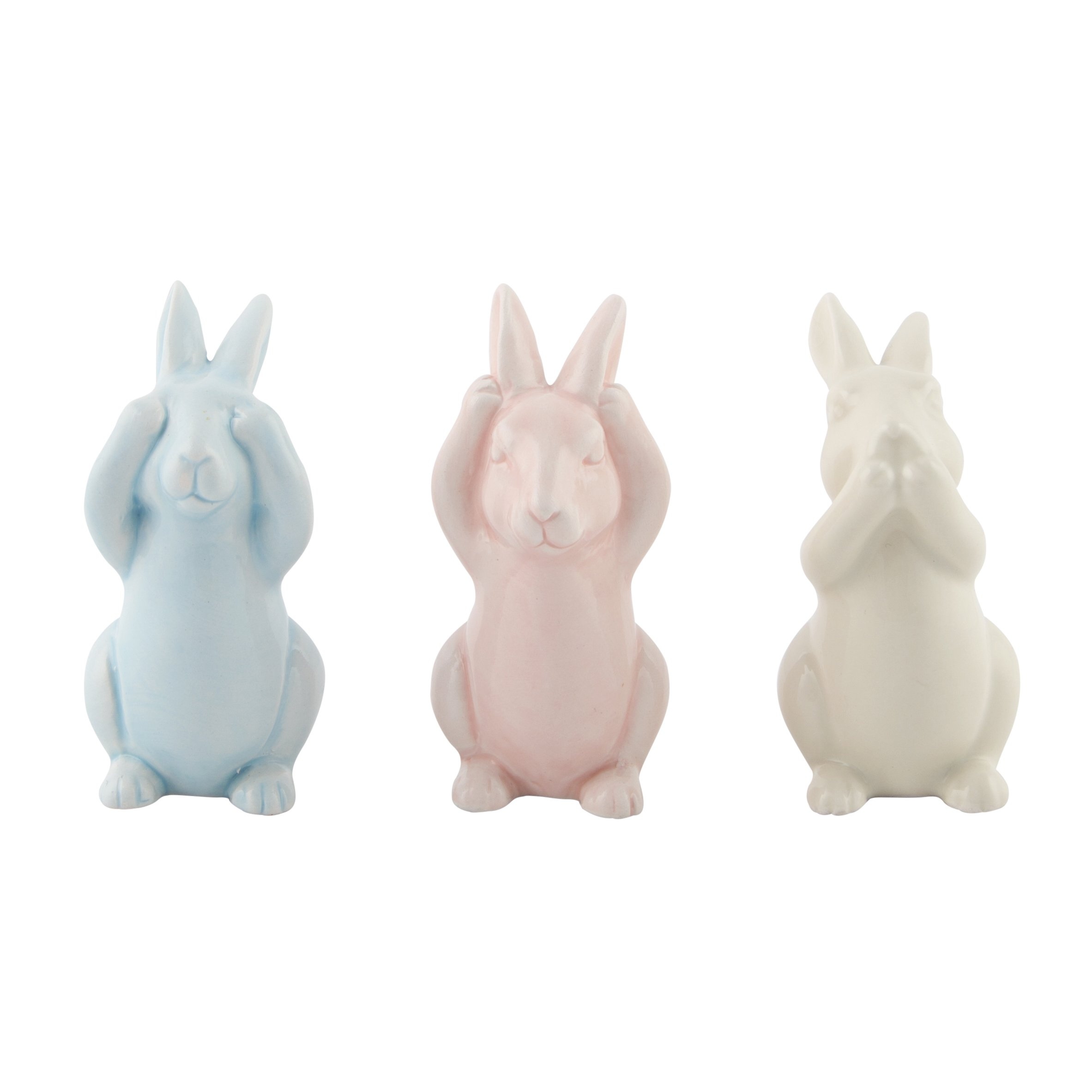Set of 3 Ceramic Pastel Peakaboo Bunnies Nursery Decor